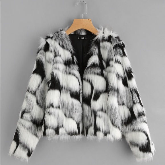 26fc2b9050 SHEIN Jackets & Coats | Nwt Xs Two Tone Faux Fur Open Front Coat ...
